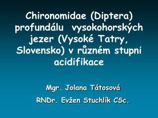 Mgr. Jolana Tátosová RNDr. Evžen Stuchlík CSc.
