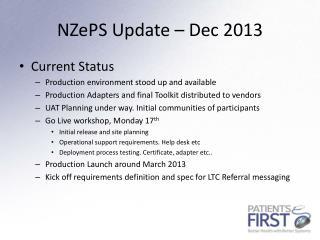 NZePS  Update – Dec 2013
