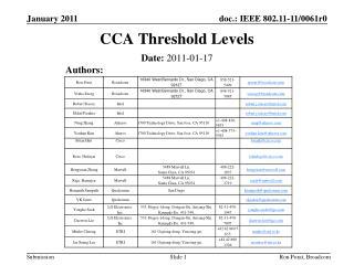 CCA Threshold Levels