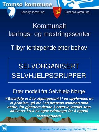 Karlsøy kommune   Balsfjord kommune Kommunalt  lærings- og mestringssenter
