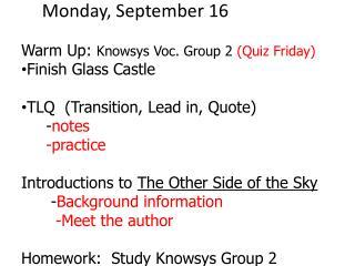 Monday, September 16