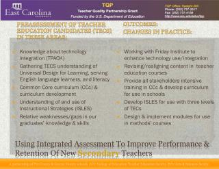 Using Integrated Assessment To Improve Performance & Retention Of New  Secondary  Teachers