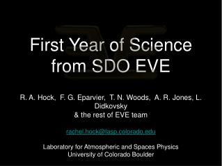 First Year of Science  from SDO EVE