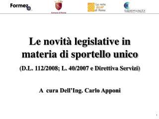 Le novità legislative in materia di sportello unico