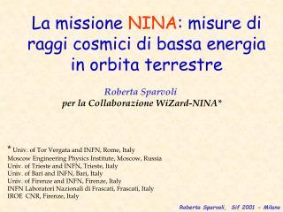 La missione  NINA : misure di raggi cosmici di bassa energia in orbita terrestre
