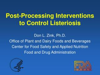 Post-Processing Interventions to Control Listeriosis