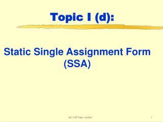 Topic I (d):