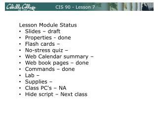 CIS 90 - Lesson 7