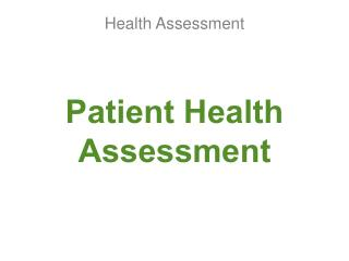 Patient Health Assessment