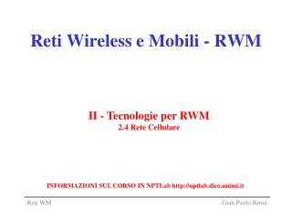 Reti Wireless e Mobili - RWM