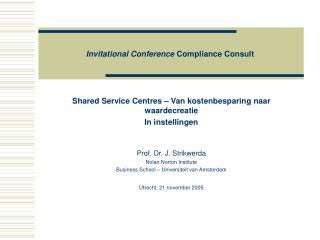Invitational Conference  Compliance Consult