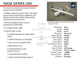 Science Instrumentation Evaluation Remote Research Aircraft (SIERRA)