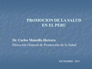 PROMOCION DE LA SALUD EN EL PERU