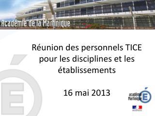 Réunion des personnels TICE pour les disciplines et les établissements 16 mai 2013