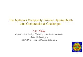 The Materials Complexity  Frontier: Applied Math and Computational Challenges