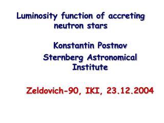 Luminosity function of accreting neutron stars