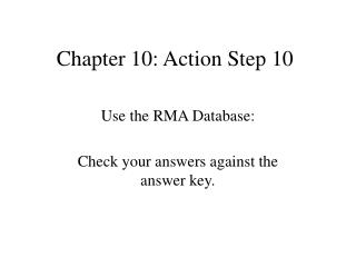 Chapter 10: Action Step 10