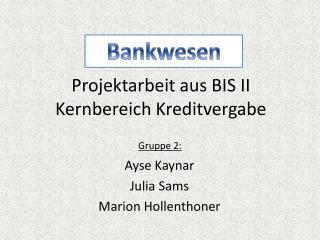 Projektarbeit aus BIS II Kernbereich Kreditvergabe