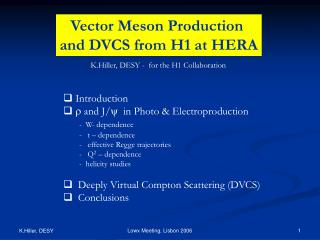 Vector Meson Production  and DVCS from H1 at HERA