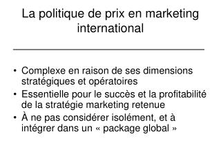 La politique de prix en marketing international