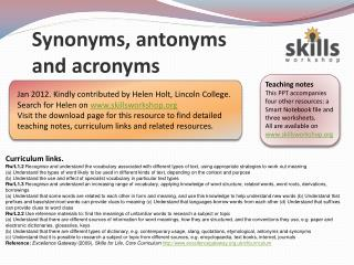 Synonyms, antonyms and acronyms