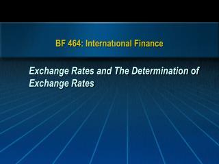 BF 464: Internatıonal Finance