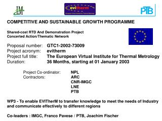 COMPETITIVE AND SUSTAINABLE GROWTH PROGRAMME Shared-cost RTD And Demonstration Project