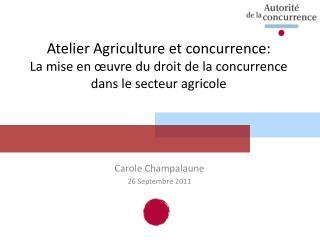 Atelier Agriculture et concurrence: La mise en  uvre du droit de la concurrence dans le secteur agricole