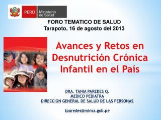Avances y Retos en Desnutrición Crónica Infantil en el País