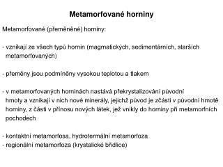 Metamorfované horniny