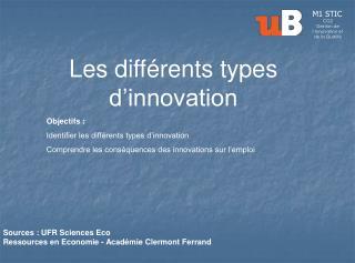 Les différents types d'innovation Objectifs :  Identifier les différents types d'innovation