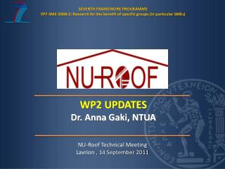 NU-Roof Technical Meeting Lavrion ,  14 September  2011