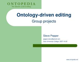 Ontology-driven editing Group projects