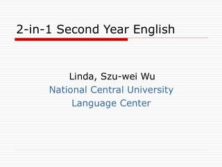 2-in-1 Second Year English