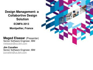 Design Management: a Collabortive Design Solution ECMFA 2013 Montpellier, France