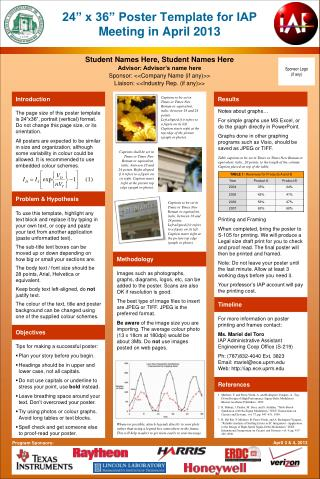 "24"" x 36"" Poster Template for IAP Meeting in April 2013"