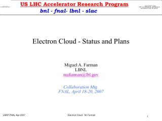 Electron Cloud - Status and Plans