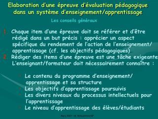 Elaboration d'une épreuve d'évaluation pédagogique dans un système d'enseignement/apprentissage