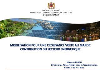 ROYAUME DU MAROC MINISTERE DE L'ENERGIE, DES MINES, DE L'EAU ET DE L'ENVIRONNEMENT
