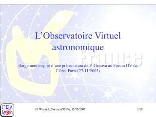 L'Observatoire Virtuel astronomique