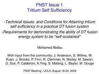 FNST Issue 1 Tritium Self Sufficiency