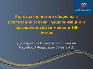 Доклад члена Общественной палаты Российской Федерации Либета А.А.