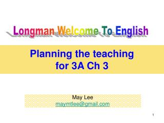 Planning the teaching  for 3A Ch 3