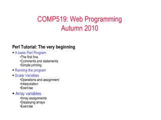 COMP519: Web Programming Autumn 2010