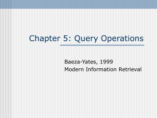 Chapter 5: Query Operations