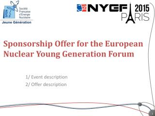 Sponsorship Offer for the European Nuclear Young Generation Forum