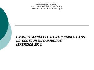 ENQUETE ANNUELLE D ENTREPRISES DANS  LE  SECTEUR DU COMMERCE  EXERCICE 2004