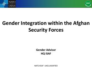 Gender Integration within the Afghan Security Forces