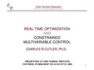 REAL TIME OPTIMIZATION AND  CONSTRAINED  MULTIVARIABLE CONTROL