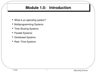 Module 1.0:   Introduction